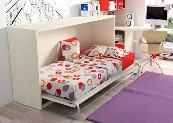 cama abatible horizontal blanca 1