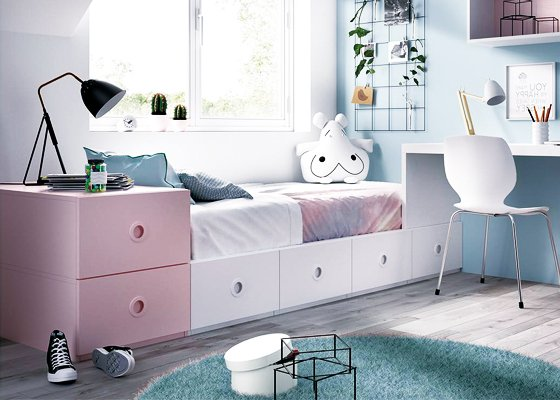 cama nido modular rosa