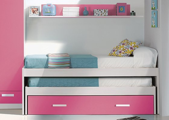cama compacta barata rosa