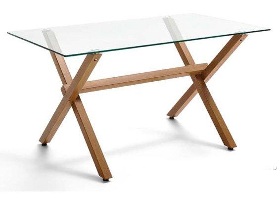 mesa de cristal y de madera REM 02