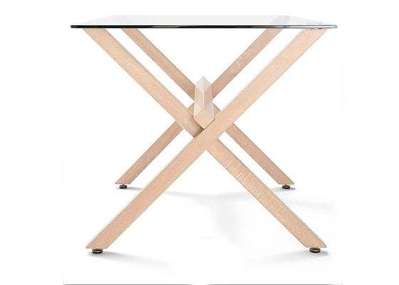 mesa de cristal y madera REM 01