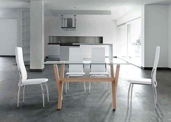 mesa de cristal y madera REM 03
