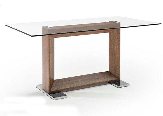 mesa de cristal y madera ROCHAS 01