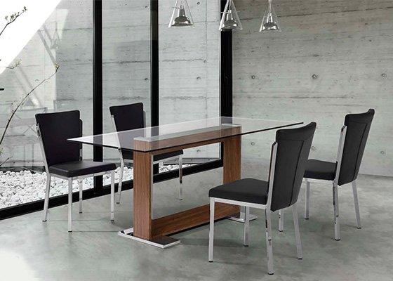 mesa de cristal y madera ROCHAS 02