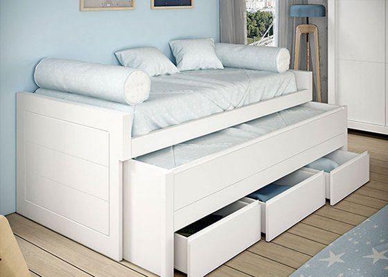 cama abatible blanca abierta