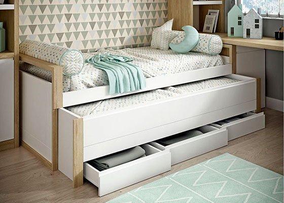 cama compacta blanca con cajones