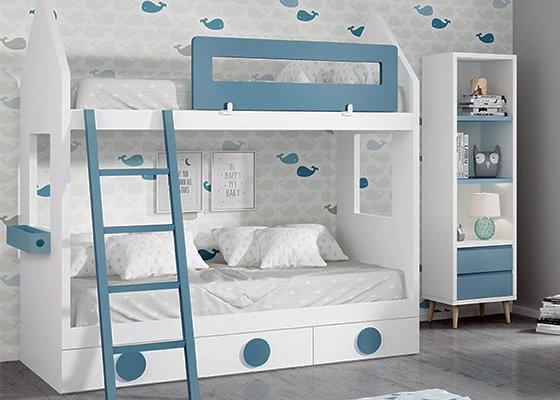 cama litera blanca con forma de casita