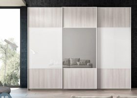 Armario puertas corredera con espejo hermida color blanco